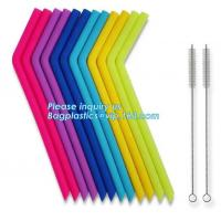 China Anti-Cutting Mouth Flexible Silicone Straw Metal Straw With Silicon Tip Sleeve Cleaning Brushes Set Reusable Silicone Dr on sale