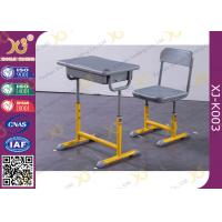 China Height Adjustable Single Student Desk And Chair Set Free Standing wholesale
