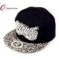 China Flat Brim Fitted Baseball Hats with 3D Embroidery , Black Printing Pattern wholesale