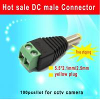 China DC Power Male Connector Yellow Plug 2.1 x 5.5 mm Surveillance CCTV Camera wholesale