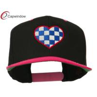 Quality Embroidered Wool Blend Snapback Baseball Caps Black Pink Checkered Heart for sale
