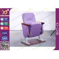 China Purple Folding Church Hall Chairs With Fabric Covers / Auditorium Seating wholesale