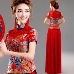 China Chinese Style Red Lace Gorgeous Evening Dress High Blue Neck Knot Set Dress TSJY127 wholesale