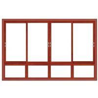 China Float Glass Double Interior Aluminium Sliding Windows Waterproof Red Cherry Color wholesale