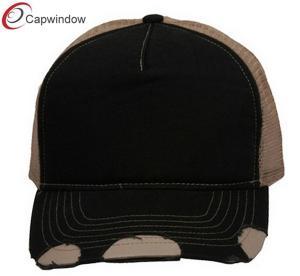 China Frayed Black Khaki Trucker Mesh Cap , Plastic Snap / Hand Wash Trucker Mesh Hats wholesale