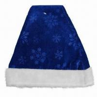 China Blue Santa Hat, Made of 100% Polyester, Ideal for Christmas Decorations Purposes wholesale