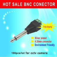 China CCTV Camera connector 100pcs/lot 6.35mm connector AUDIO stereo plug sliver plated Environmental friendlycctv accessory wholesale