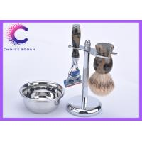 China Mens Camo Silvertip Shaving Brush Set With Bowl / Fusion Blades OEM ODM wholesale