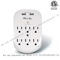 China 6 Outlets Surge Protector 2 USB Charging port 5 V 2.4 A ETL Certified Wall Tap Wall Plate wholesale