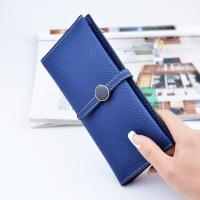 China Belt Buckle Ladies Long Type Leather Clutch Wallet With Thin Body Simple Design wholesale