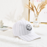 Buy cheap 2020 wholesale stripe 6 panel custom logo baseball cap with metal buckle back from wholesalers