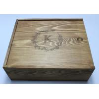 China Vintage Pine Wooden Crate Gift Box Brown Color 27cm For Birthday Gift wholesale