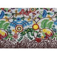 China Multi Colored French 3D Floral Embroidered Lace Fabric / Netting Fabric For Girls Dress wholesale