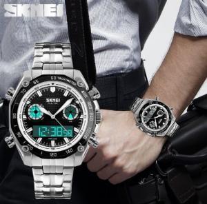 China Skmei Men Fashion Digital Dual Time Display Sports Bracelet Watche EL Light Alarm Date  1204 wholesale