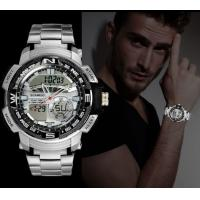 China Boamigo Dual Time Stainless Steel Waterproof 50m Multifunction Outdoor Sport Watch Military Watches wholesale