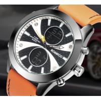 Quality Wholesale Fashion Mem Dual time 3 ATM Waterproof Genuine Leather Band Sport Wrist Watch Alarm Chronograph Watch F536 for sale