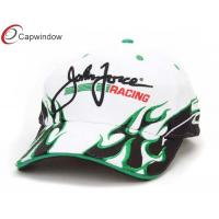 China Cotton Flame Embroidery Racing Baseball Caps With Green Sandwich Peak wholesale