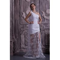 China Chic One Shoulder Mermaid Lace Chiffon White Long Evening Party Gowns With Sash wholesale