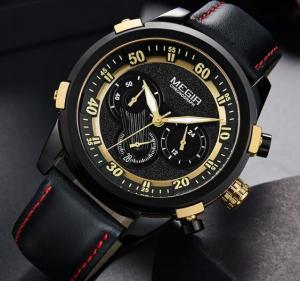Quality Wholesale Megir Men Fashion Chronograph Genuine Leather Strap Waterproof for sale