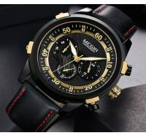 Quality Wholesale Megir Men Fashion Chronograph Genuine Leather Strap Waterproof Luminous Watches  2067G for sale