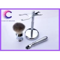 Quality Nice Work Chrome Steel Shaving Brush Set Holder Safety Synthetic Hair Mach 3 for sale