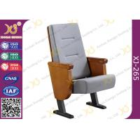 China Heavy Duty Foldable Tablet Library Auditorium Chairs With Wooden Arm Surface Finish wholesale