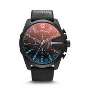 China Wholesale New Diesel Mega Chief Chronograph Black Leather Strap Men's Watch DZ4323 wholesale