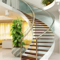 China Modern Design Interior curved staircase with tempered glass railing wholesale
