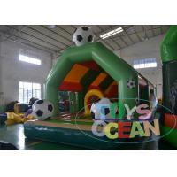 China Super Soccer Theme Inflatable Bouncer Combo Football Subjected With Obstacle wholesale