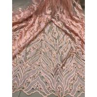 Quality Beaded Embroidered Lace Fabric , 3D Flower Lace Mesh Fabrics For Evening Gowns for sale
