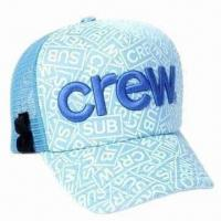China Trucker 3D Embroidery Mesh Cap, Made of 100% Cotton, Various Colors are Available wholesale