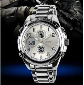 China Fashion and Classic Men Chronograph  Analog-Digital Dual Display Zinc Alloy Wrist  Watch WR 30M 1021 wholesale
