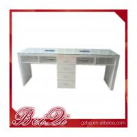 China Cnd Shellac Grey Leather Double Antique Nail Dryer Table Salon Manicure With Fan wholesale