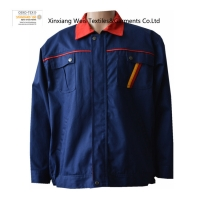 Navy Blue Flame Retardant Arc proof Jacket Coat / Men And Women FR Factory Workwear For Machinery Industry