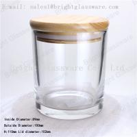 China glass container with bamboo wooden lid wholesale