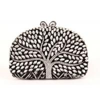 China Encrusted Crystal Silver Clutch Evening Bag Large Srorage Space And Pearl Lock wholesale