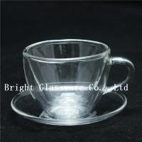 China mini double wall thermo glasses with handle, double wall mini wine glasses wholesale