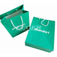 China Green Paper Bags With White Cotton Handles , Commercial Promotional Shopping Bags wholesale