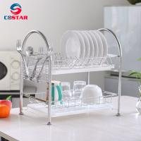 China Dish Rack Stainless Steel Two Tier Draining Rack Rustless Storage Rack with Chopstick Holder wholesale
