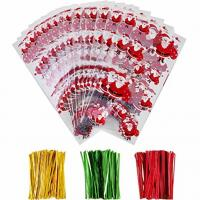 China OPP Christmas Cellophane Treat Bags/ Candy Cookie Packaging Bags with Twist Ties wholesale