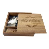 China Natural Wood 4 * 6 Inches Wooden Photo Boxes For Photographers Square Shape wholesale