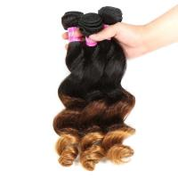 Buy cheap Peruvian Hair Loose Wave 3 Tone Ombre Hair Weave 1B / 4 / 27 Blonde Hair from wholesalers