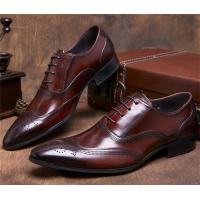 Almond Wingtips Toe Classic Dress Shoes Formal Occasions With Carved Patterns