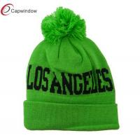 China Pure Acrylic Knit Winter Hats Green Neon Los Angeles College Town Pom wholesale