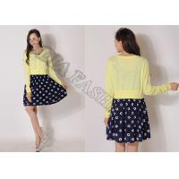 China Yellow Short Thin Womens Cardigan Sweater With Buttons Sequin Yarn wholesale