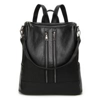 China Large Capacity Black Leather Backpack WomensDaily Use With Reinforce Shoulder Straps wholesale
