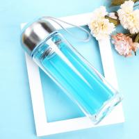 China Blue / Black Double Wall Glass Water Bottle Wide Mouth For Daily Drinking wholesale