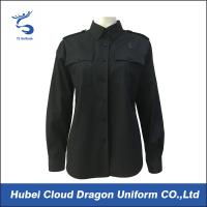 Cotton Polyester Black Custom Military Shirts / Work Shirts Long Sleeve For Women