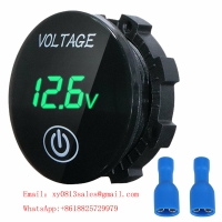 China Mini Digital Voltmeter Panel Volt Voltage Meter Tester With Touch ON OFF Switch for Car Motorcycle Boat Marine Car Acces wholesale
