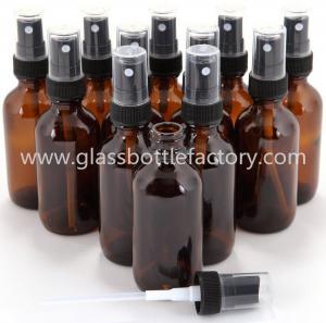 Amber Boston Round Glass Bottles With Black Pump